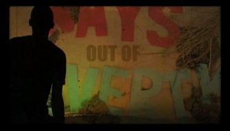 A screenshot from Youth4Media's, 'Art and Media: Ways out of Poverty' music video